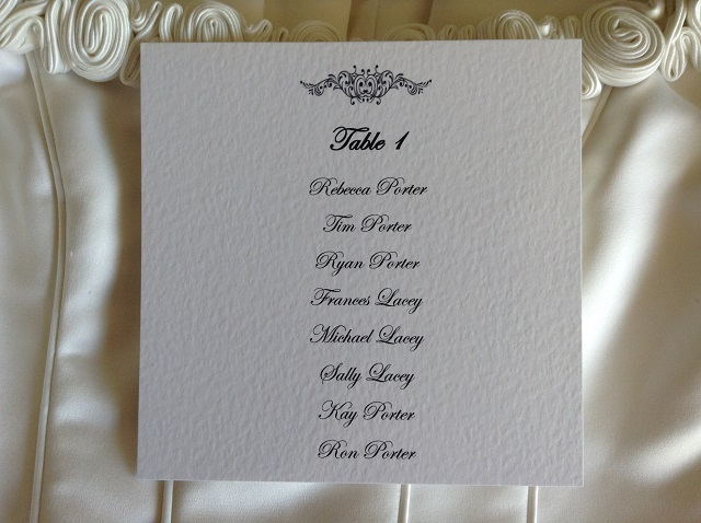 Motif Square Table Plan Cards for Table Plans