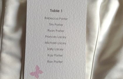 Pink Butterfly A6 Rectangular Table Plan Cards