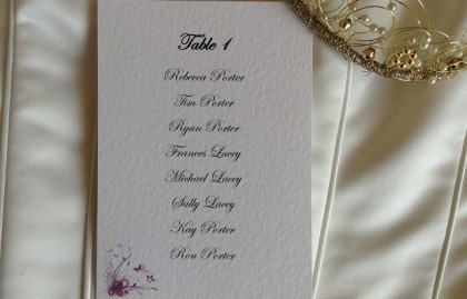 Purple & Lilac Butterfly A6 Rectangular Table Plan Cards