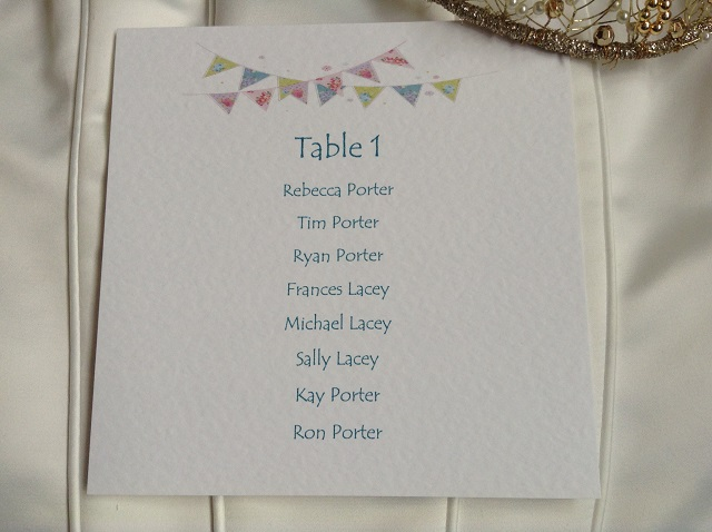 Summer Wedding Bunting Square Table Plan Cards for Table Plans