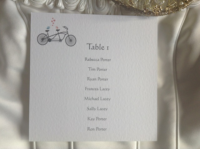 Tandem Bike Square Table Plan Cards for Table Plans
