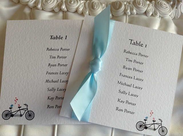 Tandem Bike Square Table Plan Cards