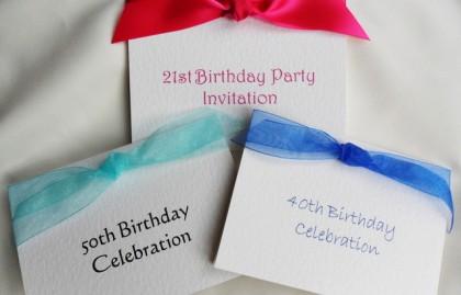 Top Ribbon Birthday Invitation Cards