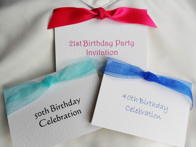 Top Ribbon Birthday Invitation Cards