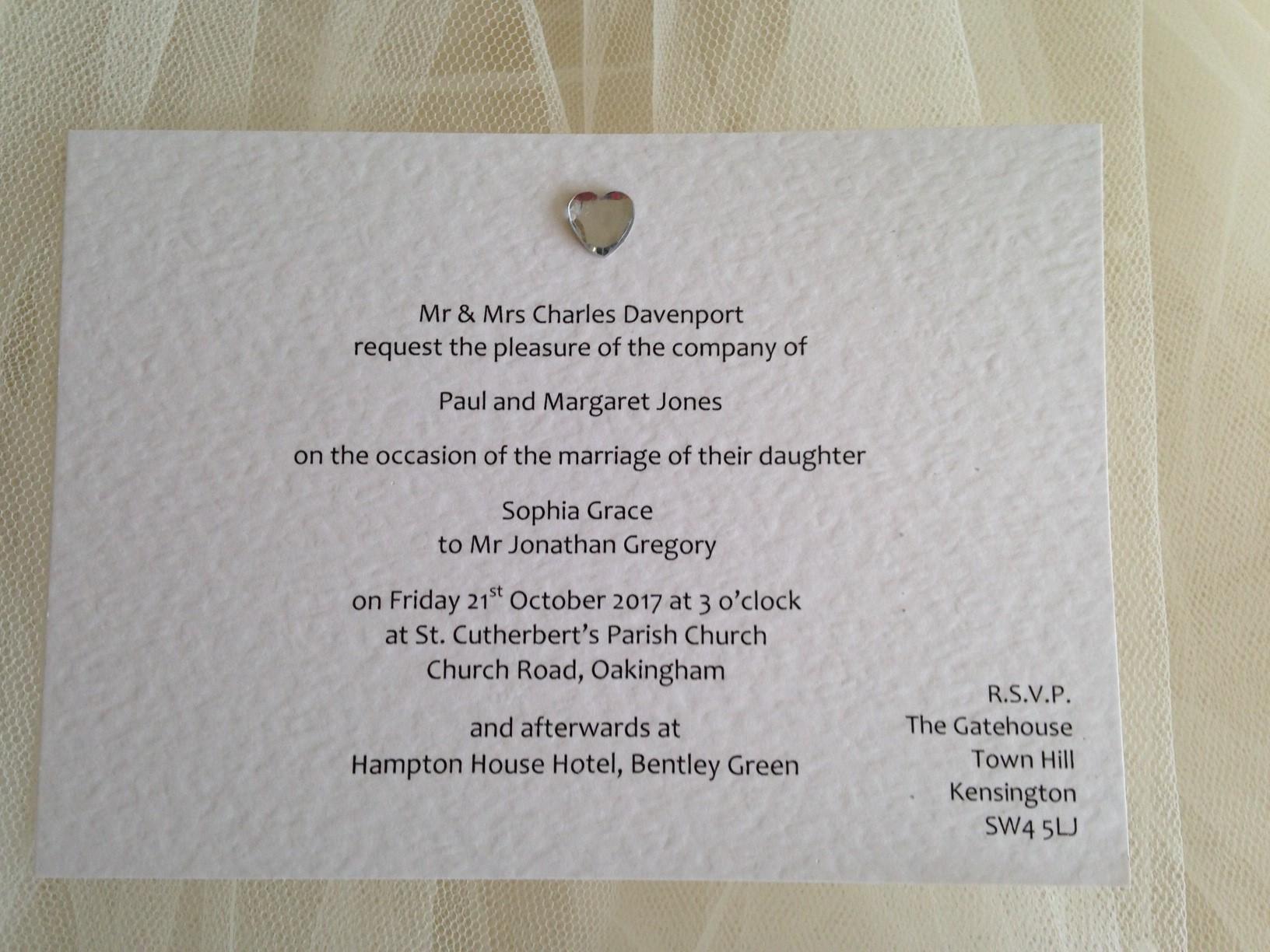 Heart Wedding Invitations Uk: Diamante Heart Postcard Wedding Invitations