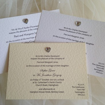 Diamante Heart Postcard Wedding Invitations