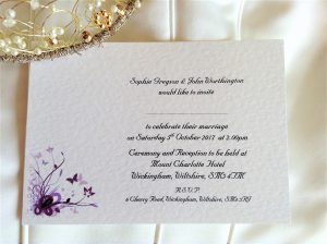 Purple and Lilac Butterfly Postcard Wedding Invitations