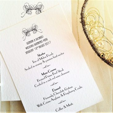 Art Deco A6 Personalised Menu Cards