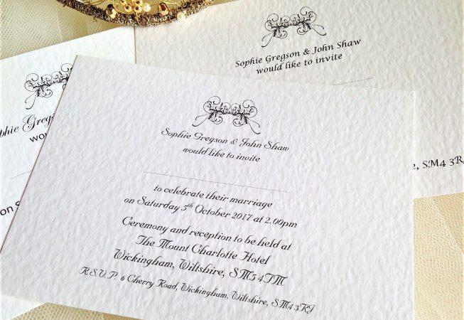 Art Deco Postcard Wedding Invitations