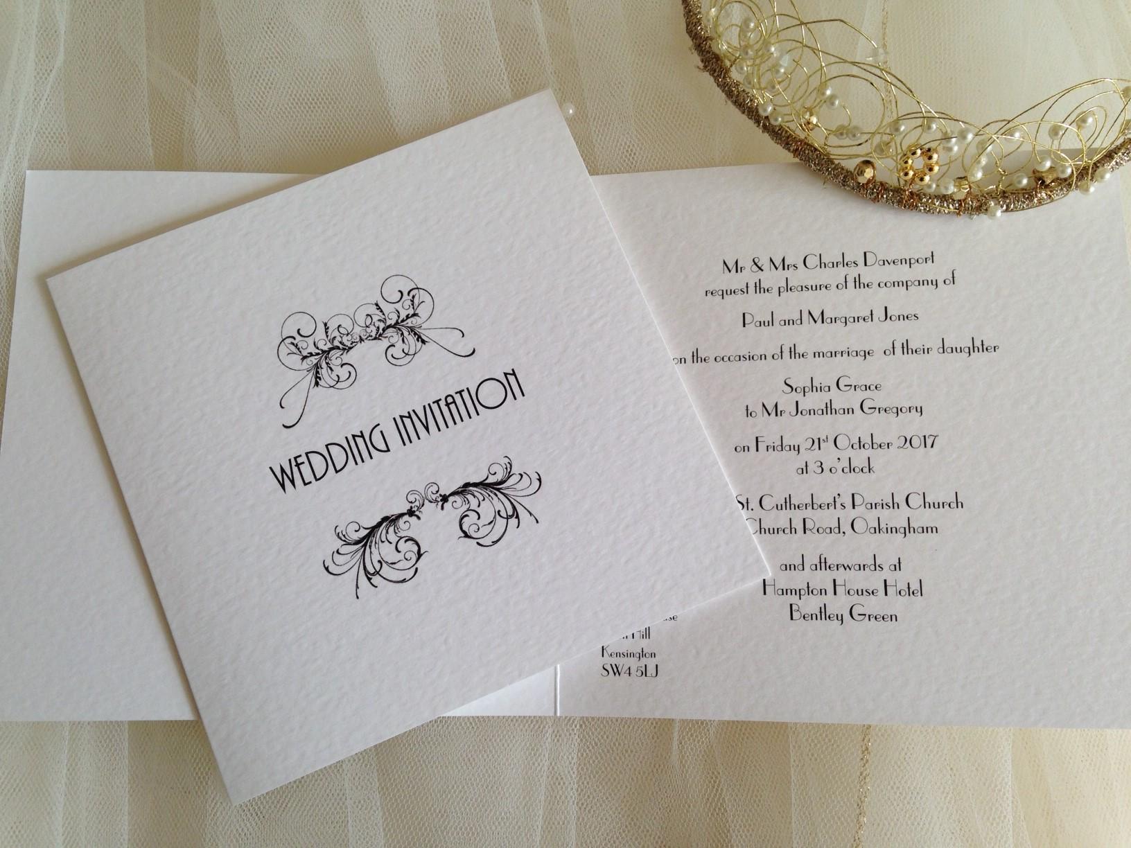 Art Deco Square Centre Fold Wedding Invitations