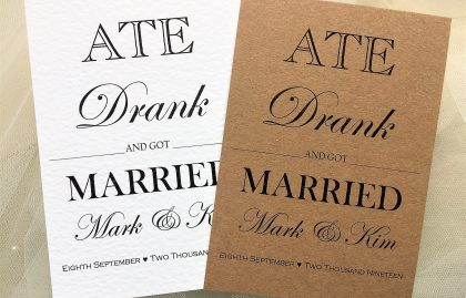Ate Drank and Got Married Thank You Cards