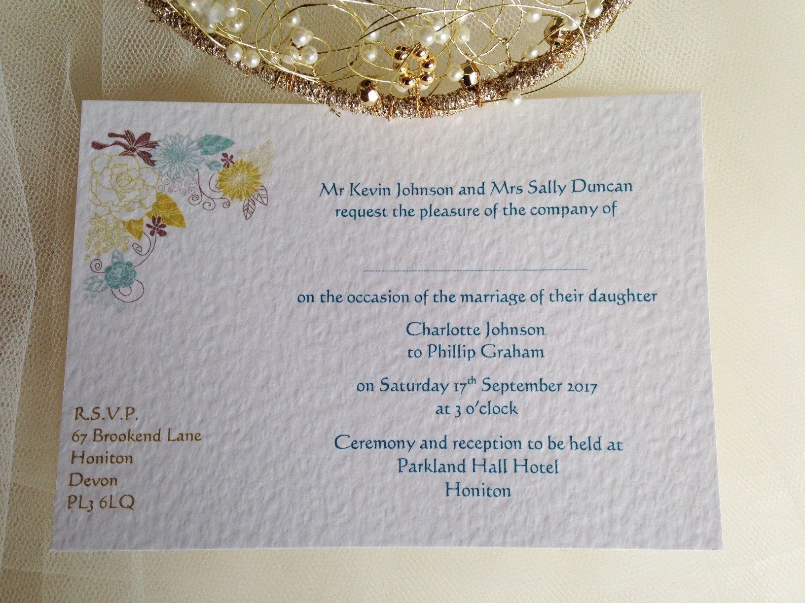 Wedding Invitations England: Blooms Postcard Wedding Invitations
