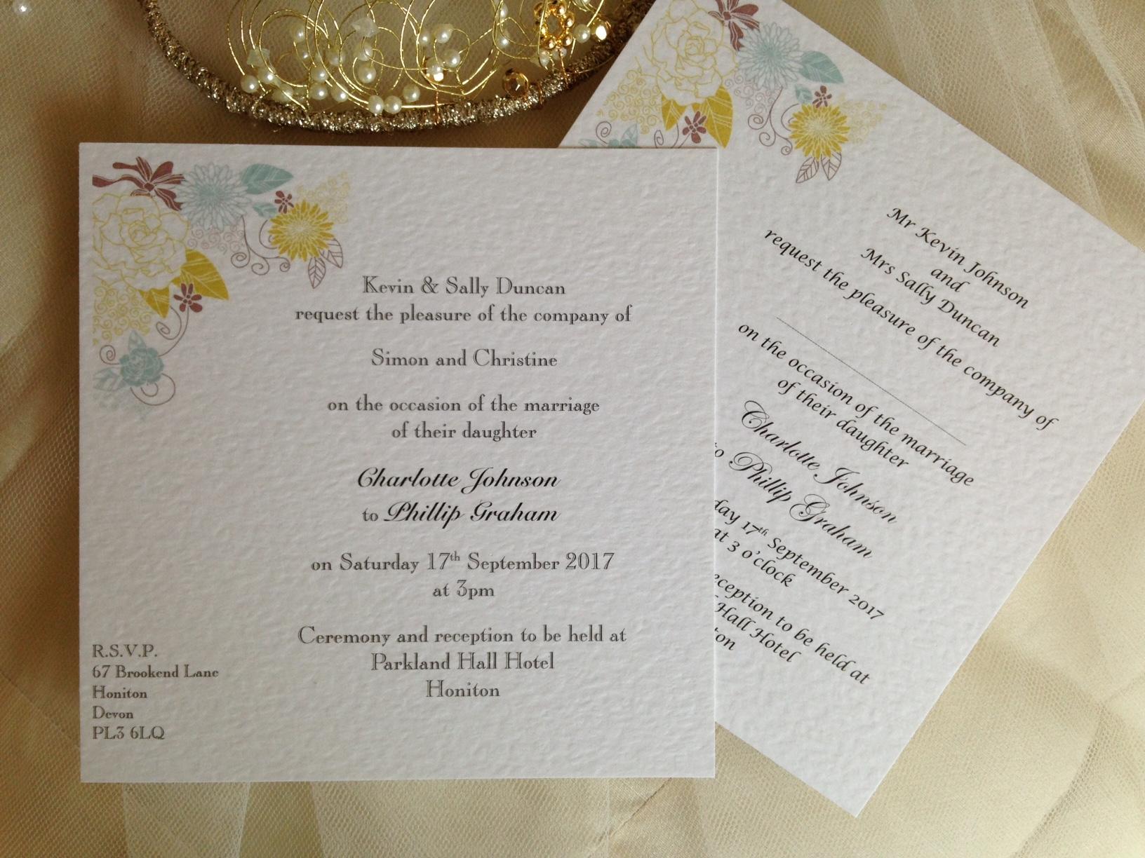 Bargain Wedding Invitations: Blooms Flat Square Wedding Invitations Under £1