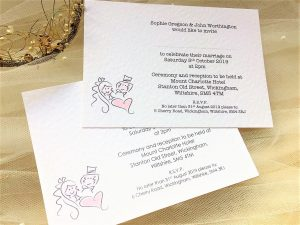 Bride and Groom Postcard Wedding Invitations