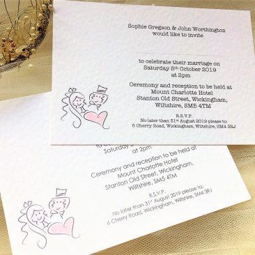 Bride and Groom Postcard Wedding Invitations