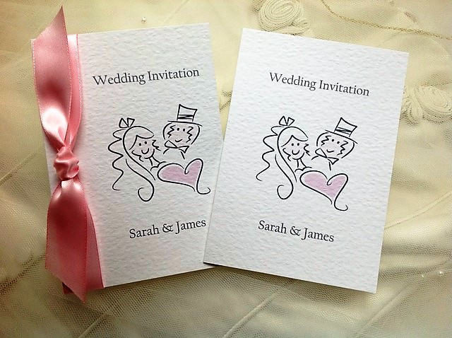 Wedding Invitation By Bride And Groom Wording Samples: Bride And Groom Centre Fold Wedding Invitations
