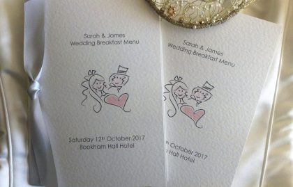 Bride & Groom Small A6 Menu Booklets