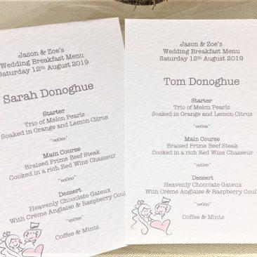 Bride & Groom A6 Personalised Menu Cards
