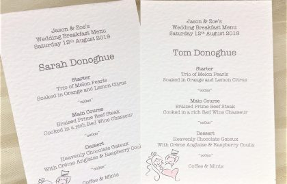 Bride & Groom A6 Personalised Menu Cards