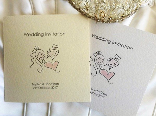 Bride and Groom Square Centre Fold Wedding Invitations