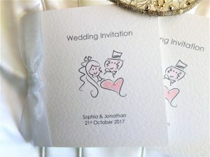 Bride and Groom Square Centre Fold Wedding Invitations