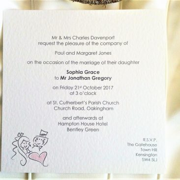 Bride and Groom Flat Square Wedding Invitations