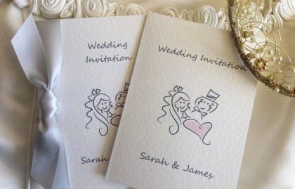 Bride and Groom Centre Fold Wedding Invitations