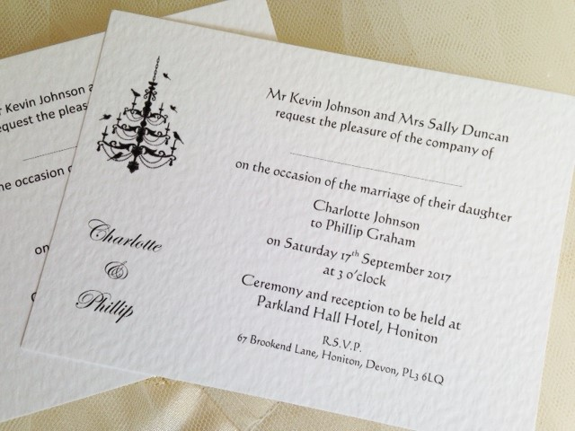 Postcard Wedding Invites: Chandelier Postcard Wedding Invitations