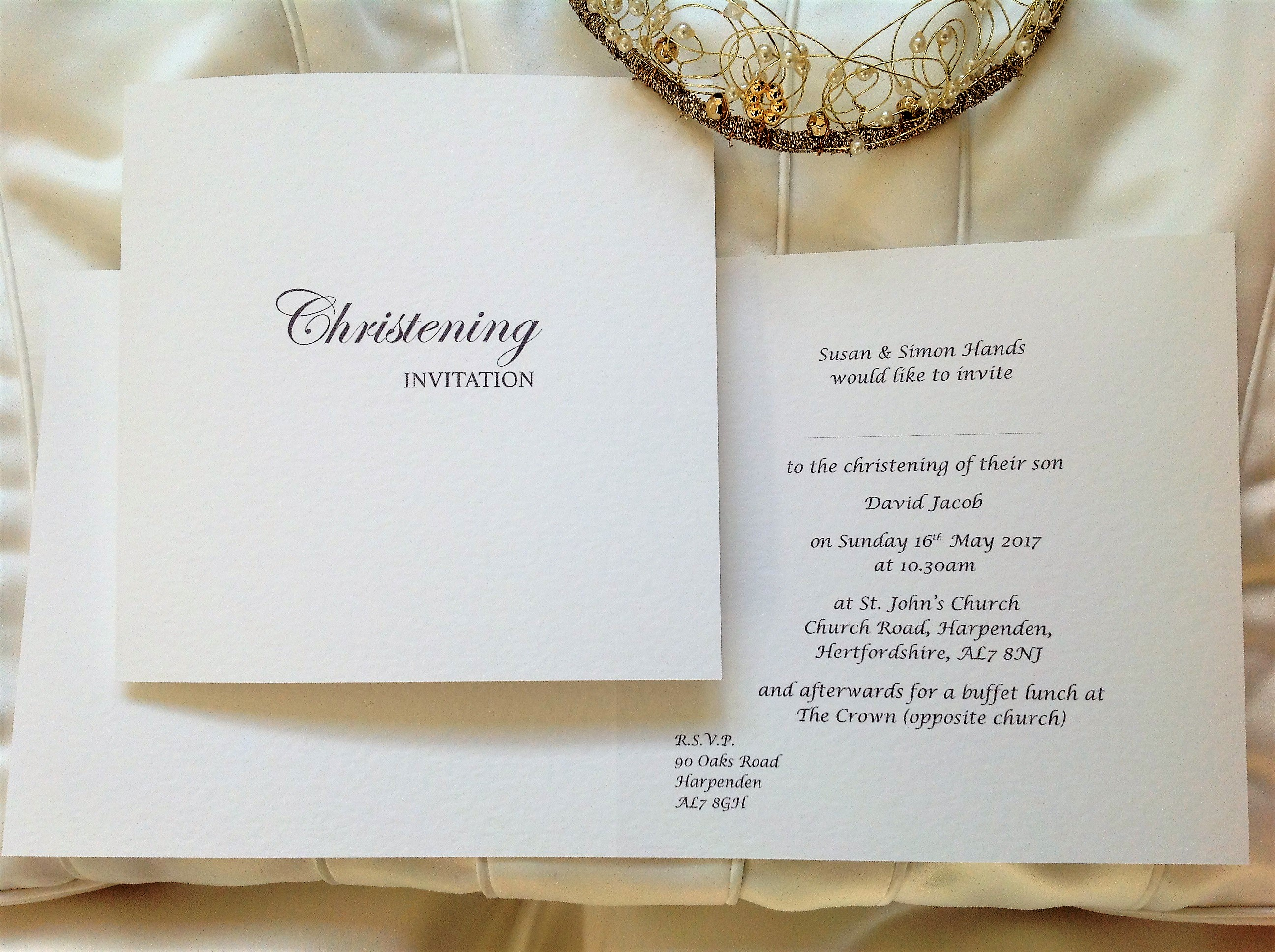 Square Folding Christening Invitations