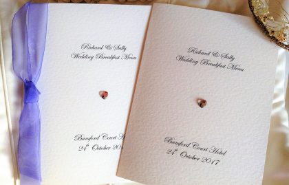 Diamante Heart Small A6 Menu Booklets