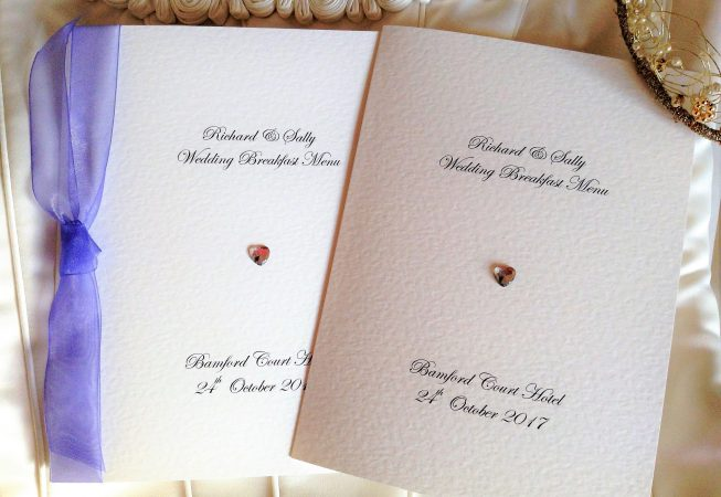 Diamante Heart Large A5 Menu Booklets