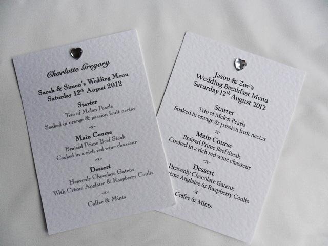 Diamante Heart A6 Personalised Menu Cards