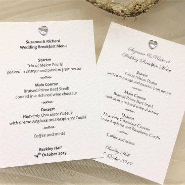 Diamante Heart A6 Personalised Menu Cards