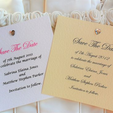 Square Diamante Heart Save the Date Cards