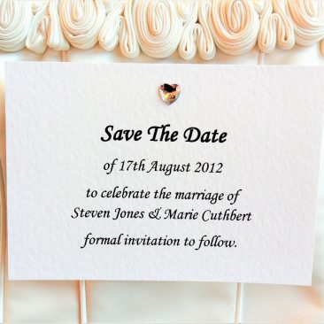 Diamante Heart Save The Date Cards