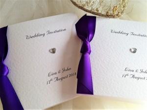 Diamante Heart Square Centre Fold Wedding Invitations