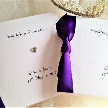 Diamante Heart Square Centre Fold Wedding Invitations