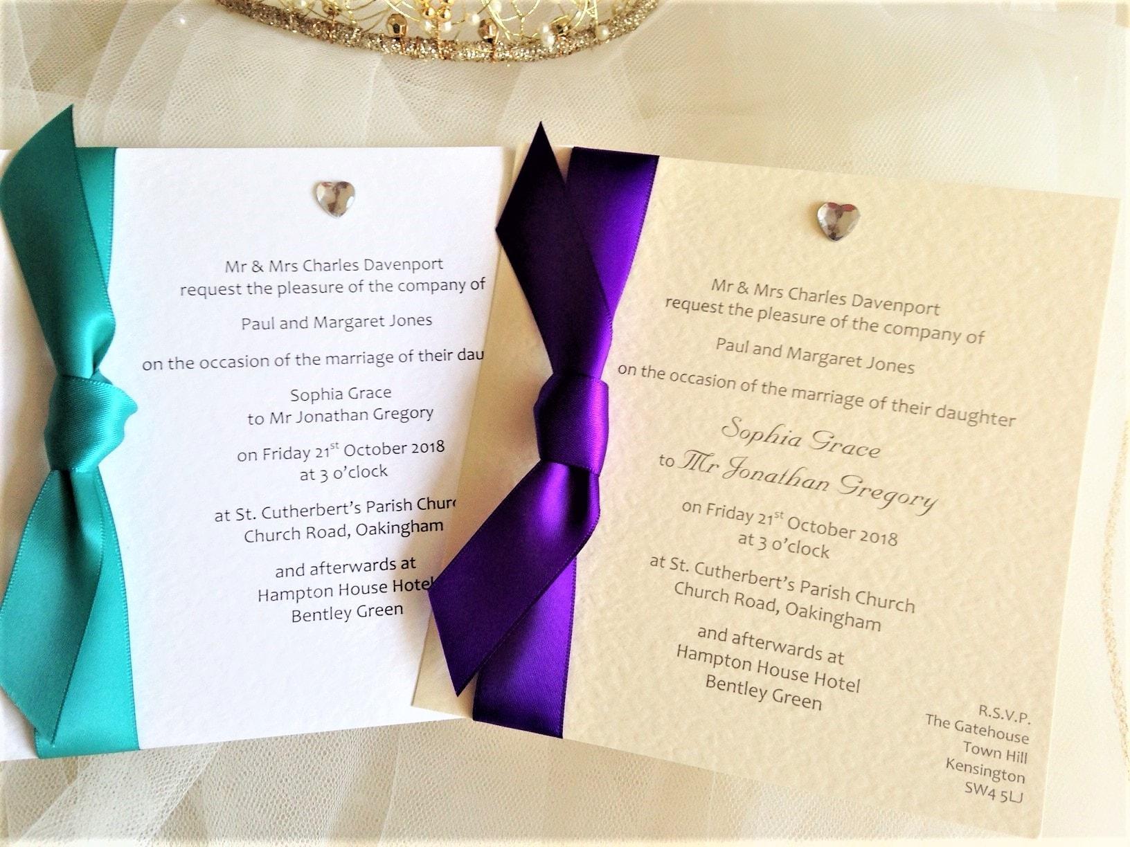 Heart Wedding Invitations Uk: Diamante Heart Square Flat Wedding Invitations