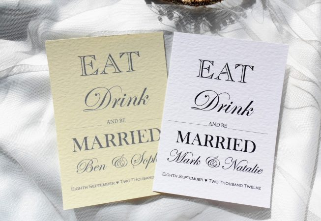 Eat Drink and Be Married Postcard Wedding Invitations