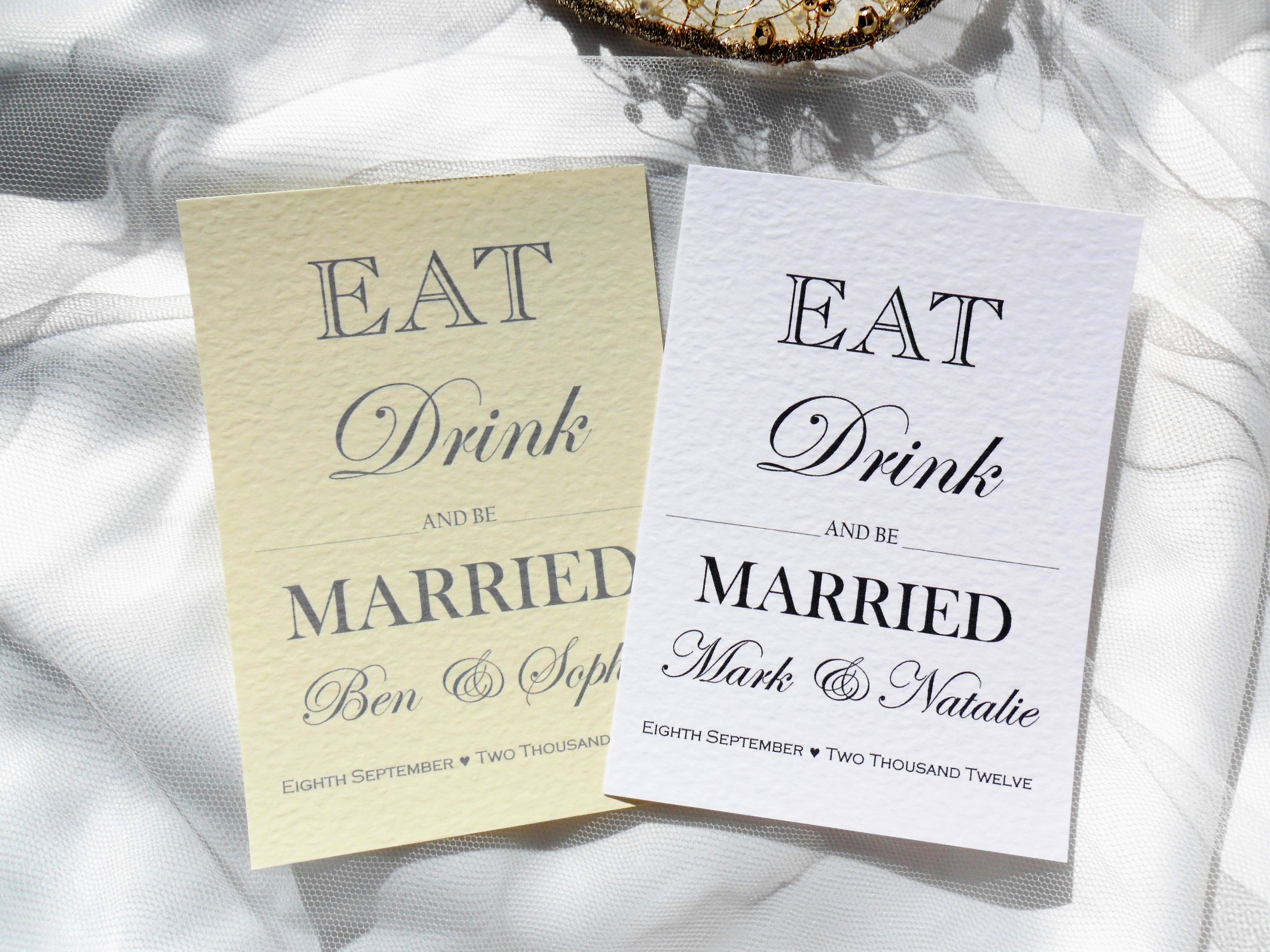 Eat Drink and Be Married Postcard Wedding Invitations - Daisy Chain ...