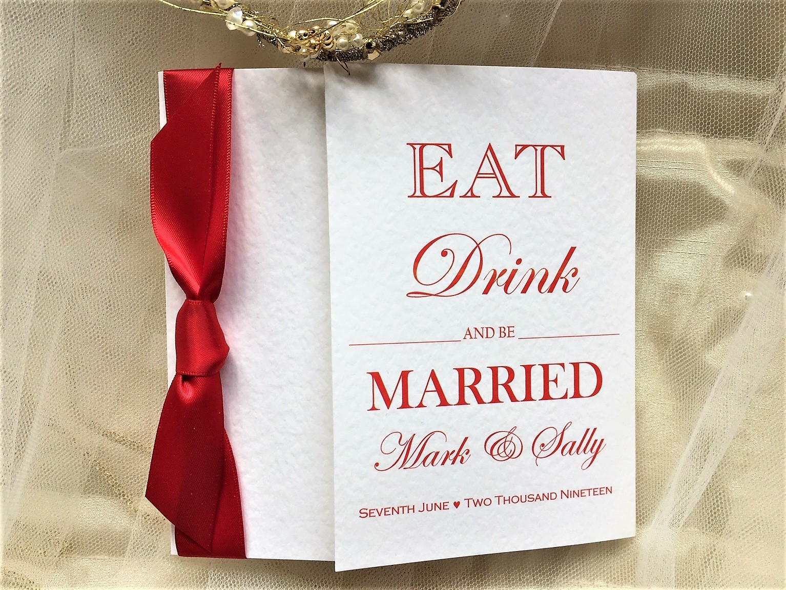 Eat Drink and Be Married Square Gatefold Wedding Invitations