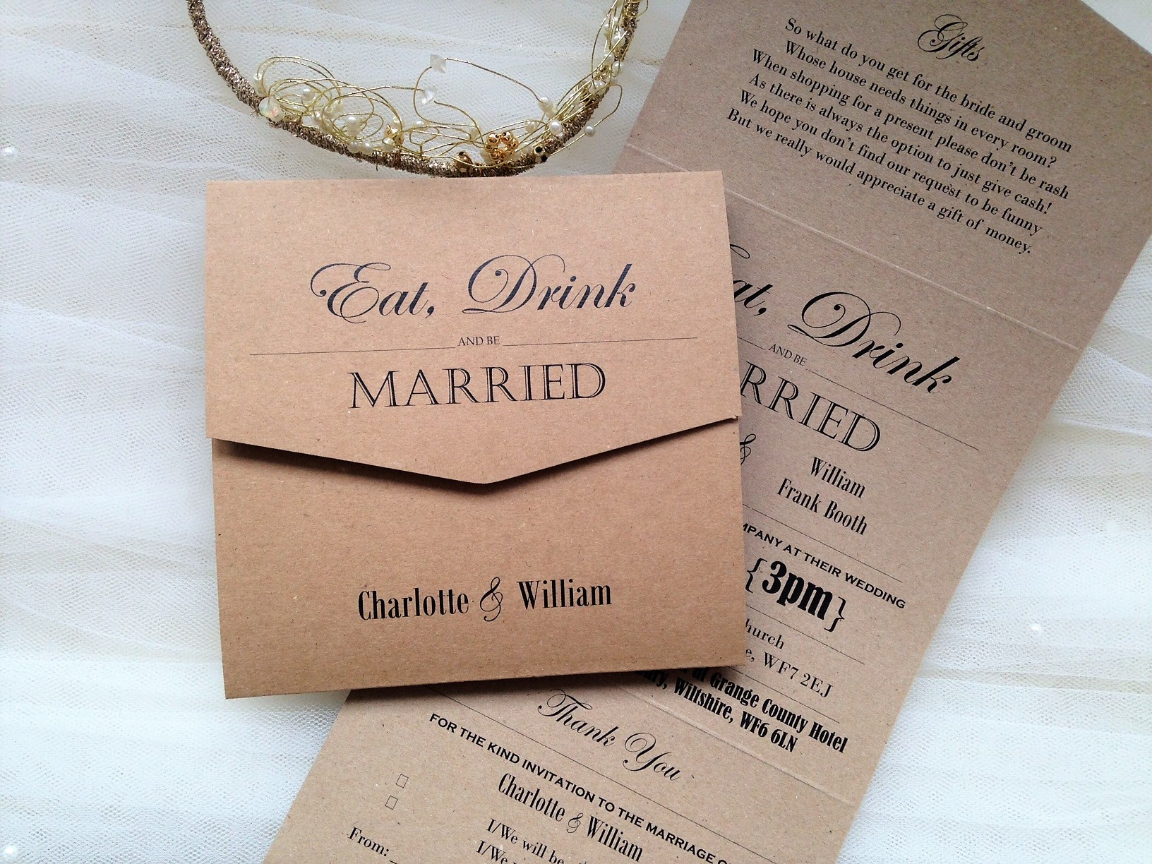 Eat Drink and Be Married Tri Fold Invitations 5