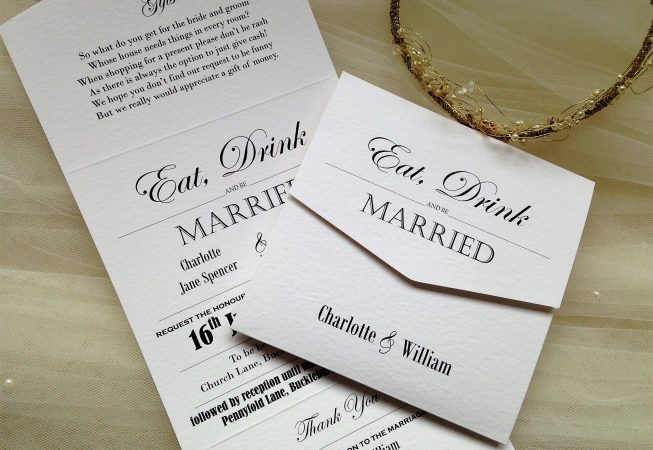 Eat Drink and Be Married Tri Fold Invitations