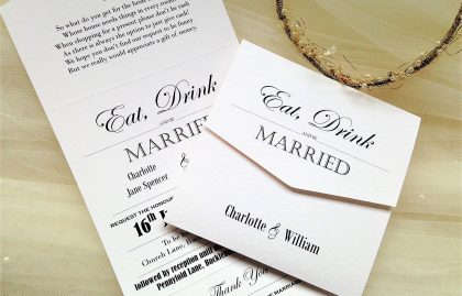 Vintage Tri Fold Wedding Invitations