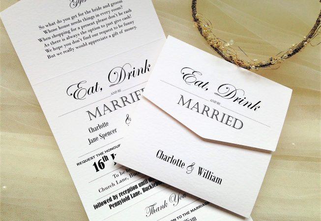 Vintage Tri Fold Wedding Invitations