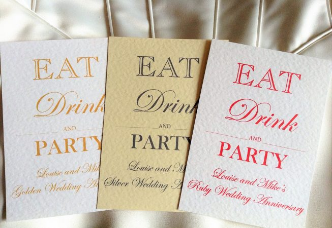 Eat, drink and party wedding anniversary invitations
