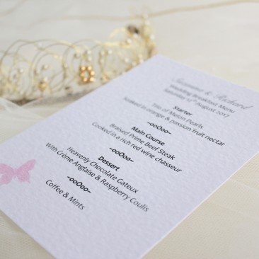 Pink Butterfly A6 Personalised Menu Cards