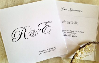 Pocketfold Wedding Invitations – Bride and Groom Initials