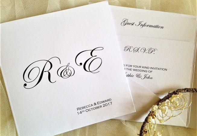 Pocketfold Wedding Invitations - Bride and Groom Initials