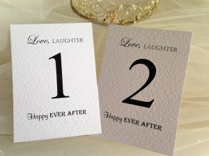 Table Name and Number Cards